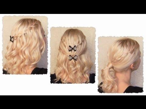 Waterfall Braid Hairstyles With Curls For Long Hair Flechtfrisur Mit Locken Fr Lange Haare
