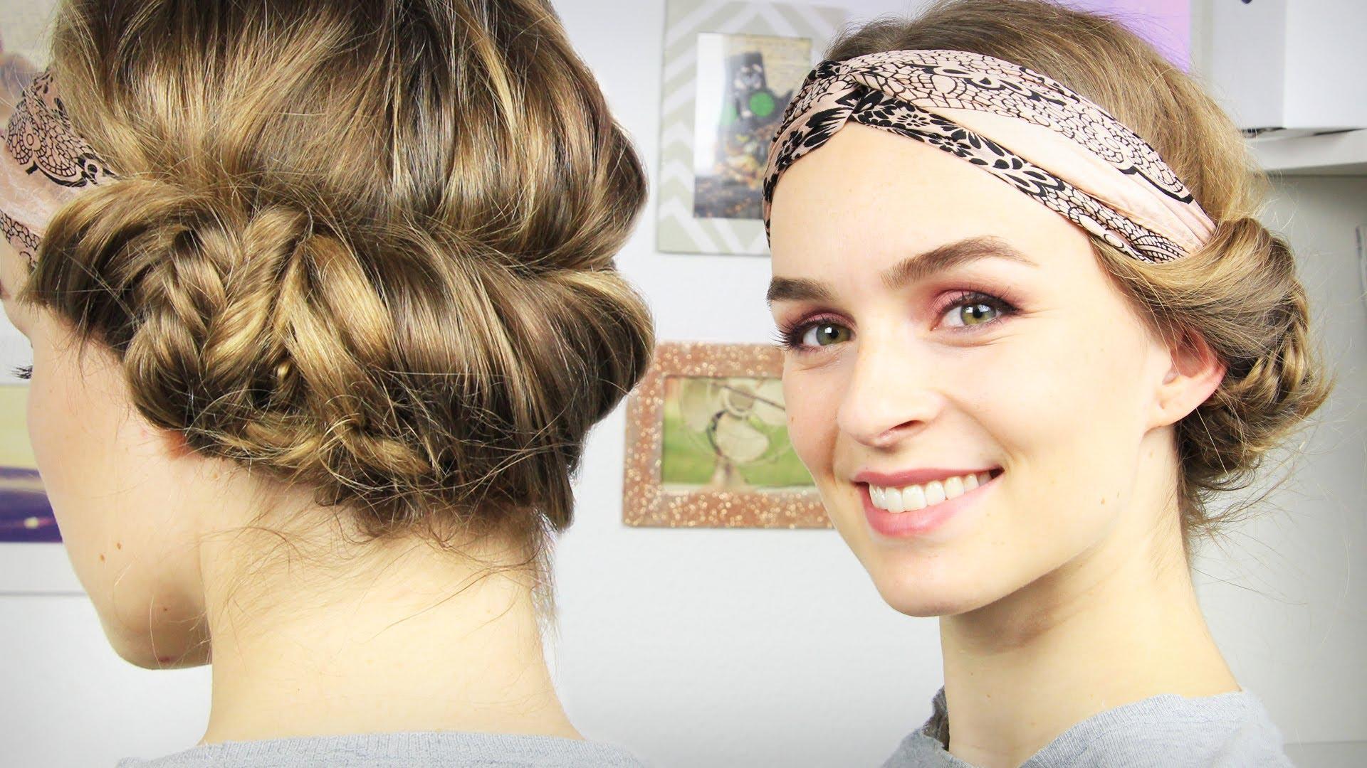 |haare| Haarband-frisur Mit Seitlichem Dutt – Tuchhaarband – Schick & Schnell