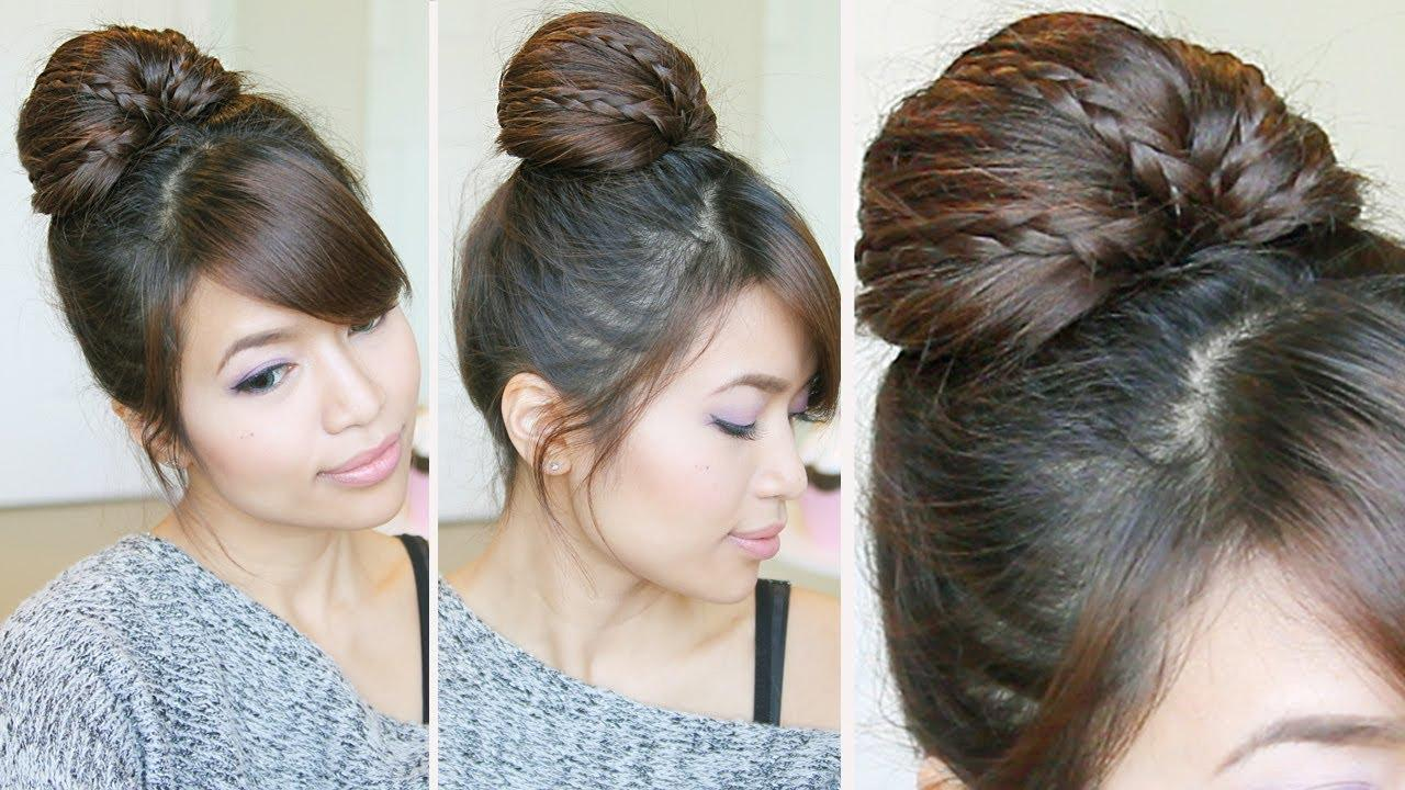 Braided Fan Bun Updo Hairstyle For Medium Long Hair Tutorial