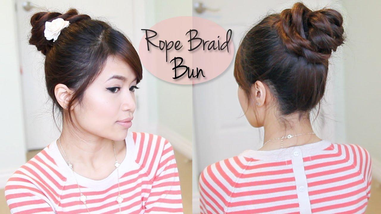 Everyday Rope Braid Rose Bun Updo Hairstyle For Medium Long Hair Tutorial