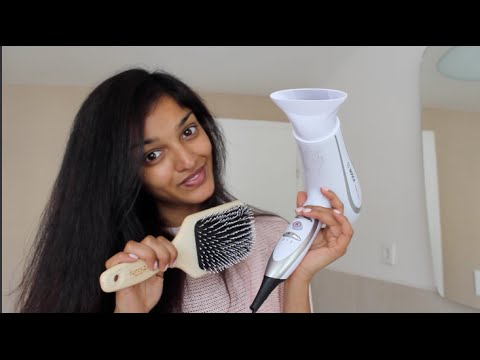 Lockige Haare Glatt Föhnen I Indisches Haar